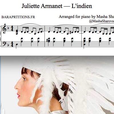 Жюльетт Армане Индеец фортепиано соло ноты